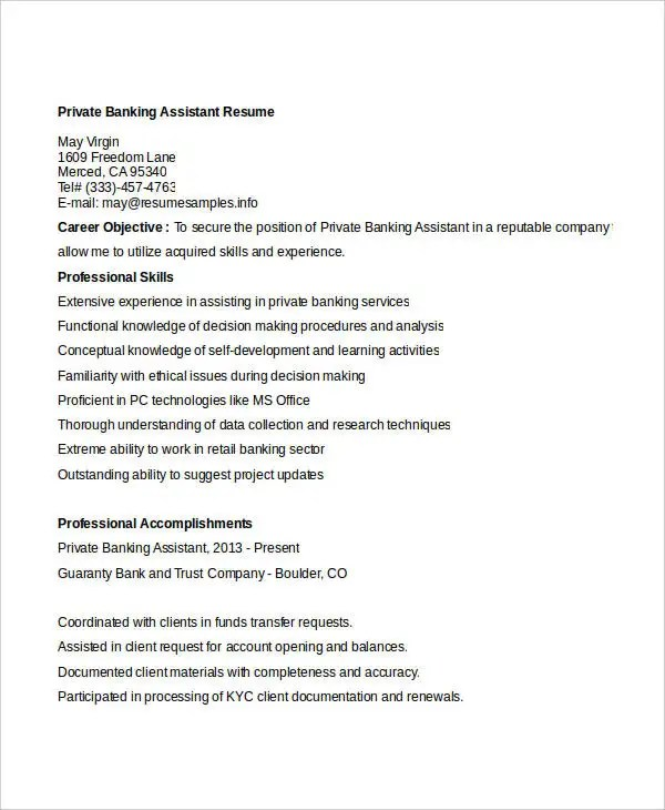 20+ Simple Banking Resume Templates - PDF, DOC Free  Premium - Trust Assistant Sample Resume