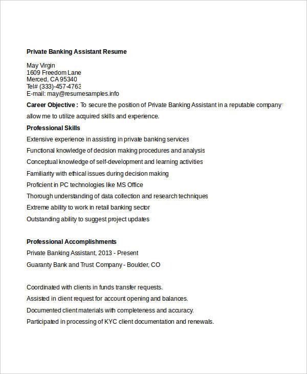 20+ Simple Banking Resume Templates - PDF, DOC Free  Premium - Trust Assistant Sample Resume