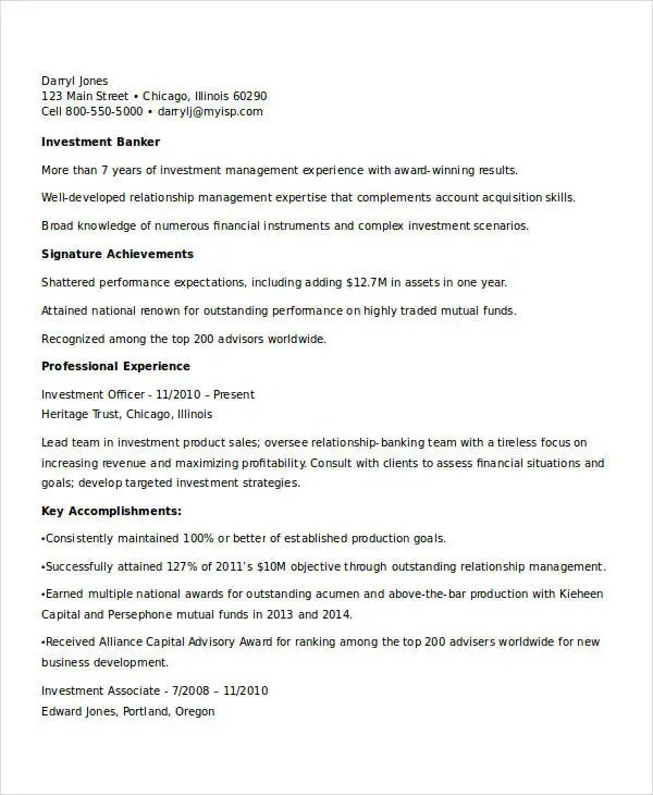 Best Banking Resume Templates - 31+ Free Word, PDF Documents - investment banking resume template