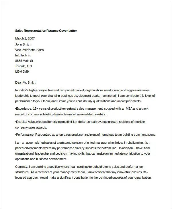 sample of cover letter for sales representative