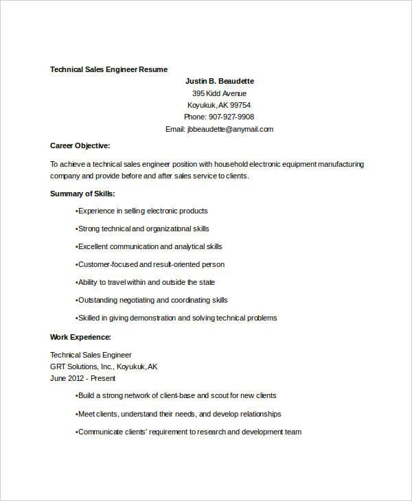 19+ Sales Resume Templates - PDF, DOC Free  Premium Templates - sales engineer resume