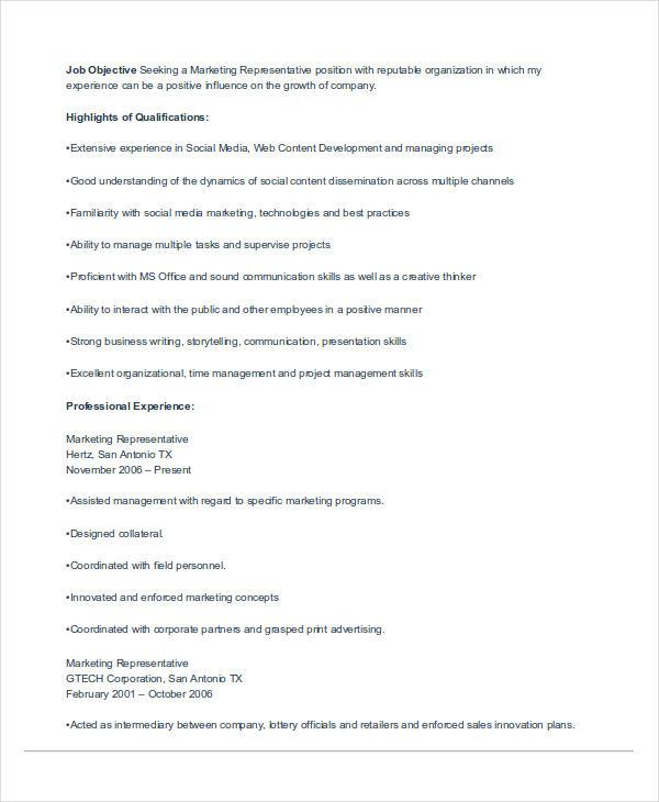 40+ Basic Marketing Resume Free  Premium Templates - field representative resume