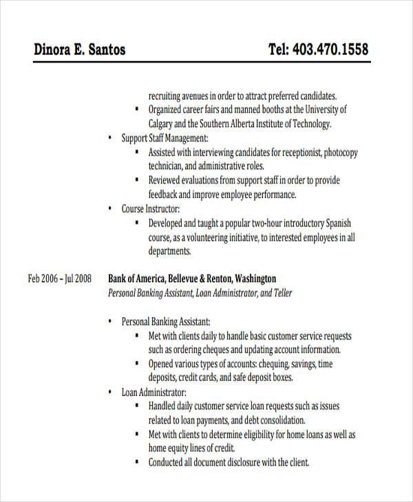 49+ Banking Resume Templates in Pdf Free  Premium Templates - banking loan resume