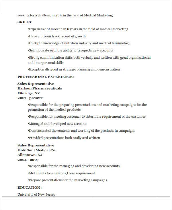 40+ Basic Marketing Resume Free  Premium Templates - medical marketing resume