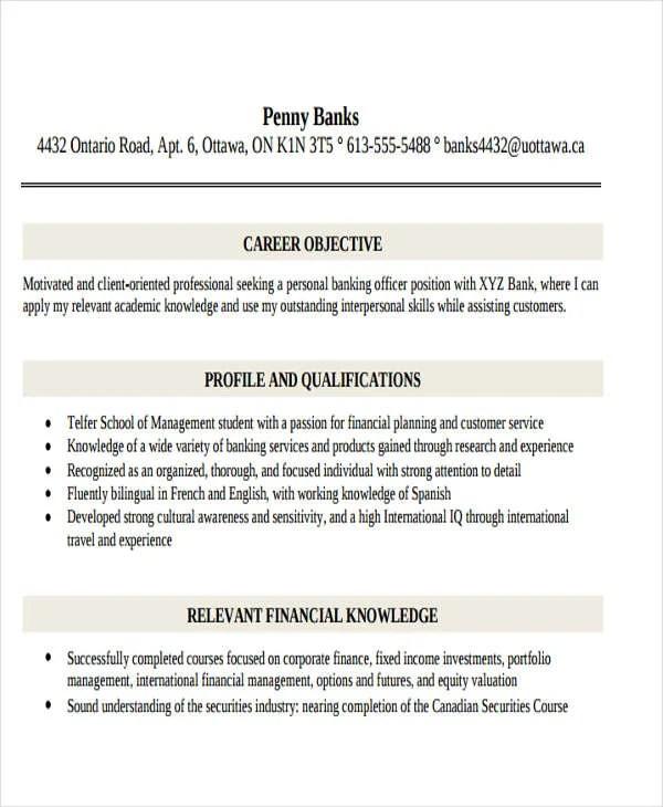 49+ Banking Resume Templates in Pdf Free  Premium Templates