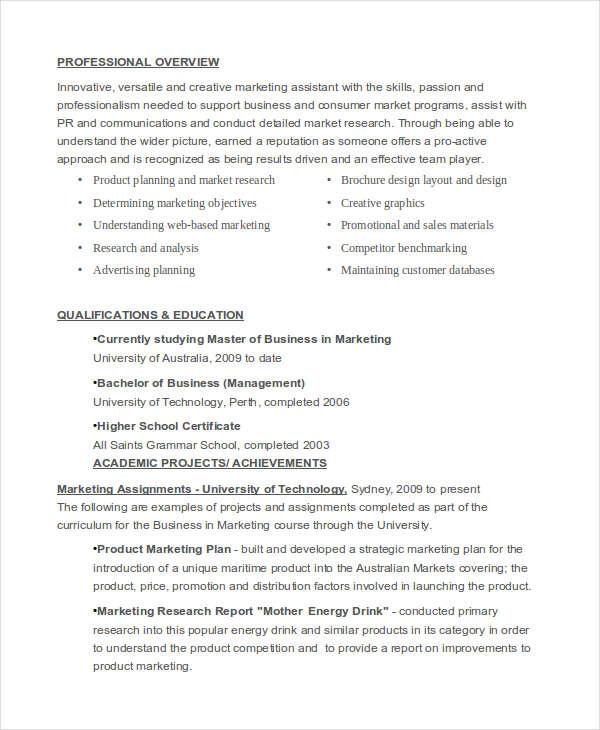 40+ Basic Marketing Resume Free \ Premium Templates - marketing assistant resume