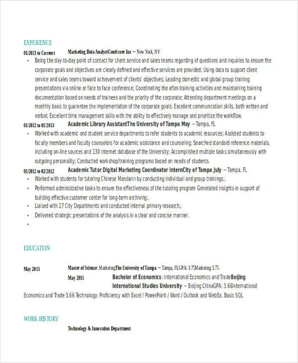 free resume template that will impress a prospective employer