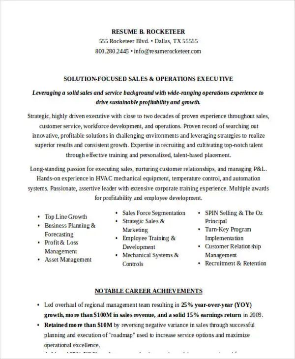 resume responsibilities for sales management