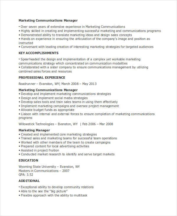 marketing communications manager resume 40 basic marketing resume