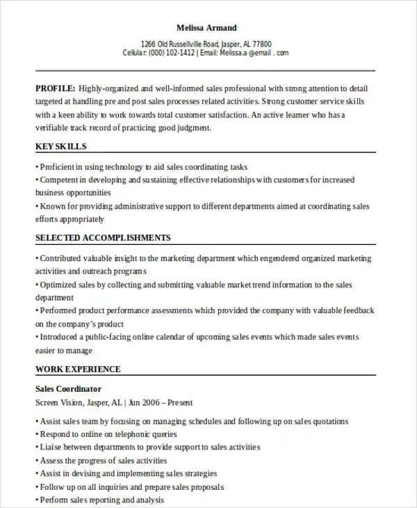 44+ Sales Resume Design Free \ Premium Templates - outreach coordinator resume