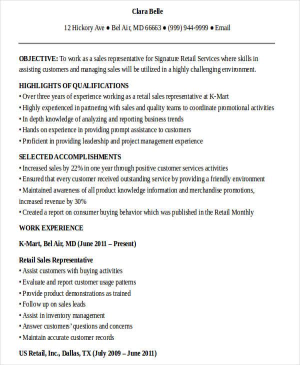 retail sales representative resume