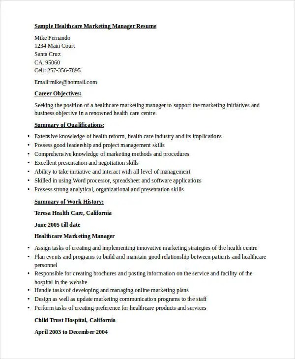 40+ Basic Marketing Resume Free  Premium Templates - sample healthcare marketing resume