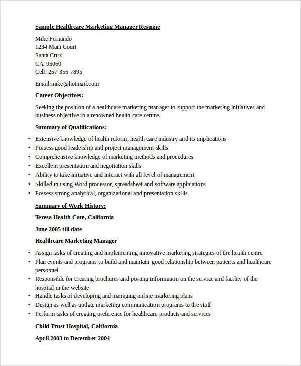 resume template for marketing director