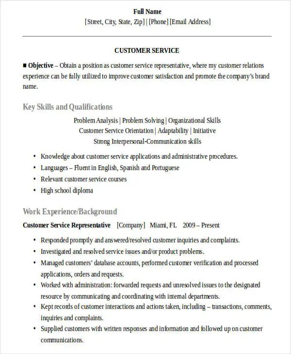 Customer service sales rep resume
