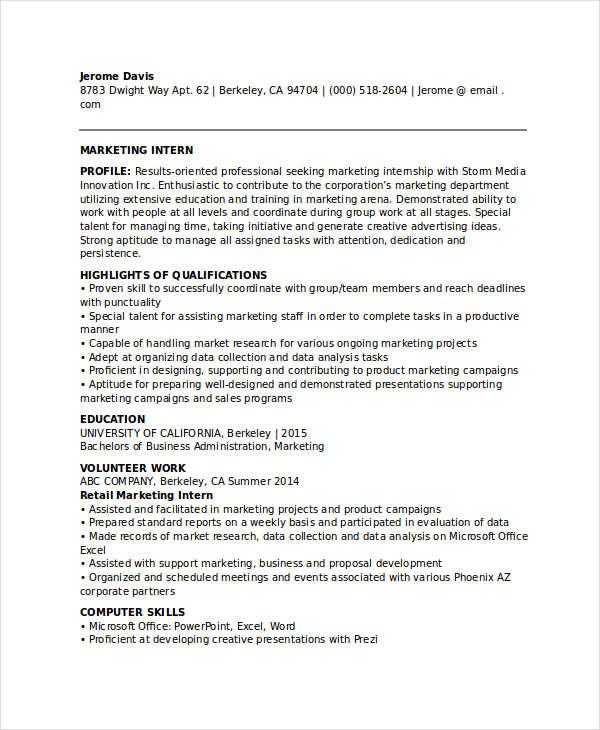 Cv For Marketing Internship - Twenty.Hueandi.Co
