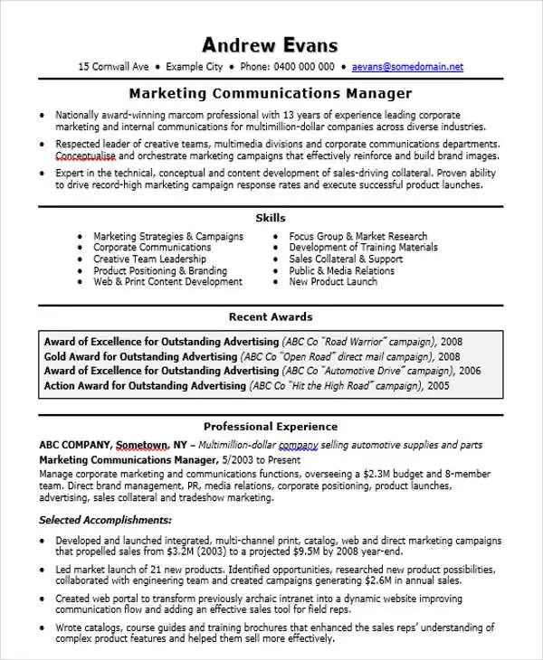 free manager resume template download