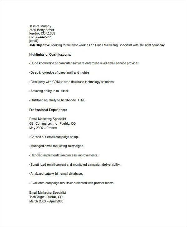 Email Marketing Resume writing a business development resume - 28 - marketing specialist resume