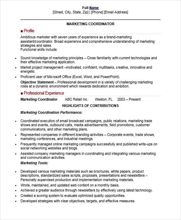 30+ Professional Marketing Resume Templates - PDF, DOC Free