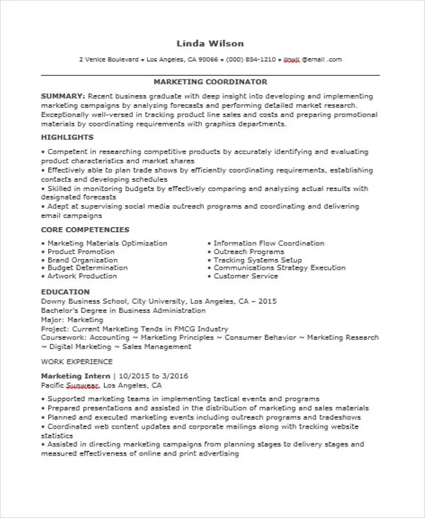 46+ Professional Marketing Resume Free \ Premium Templates - outreach coordinator resume