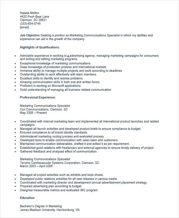 Health Communication Specialist Sample Resume Professional