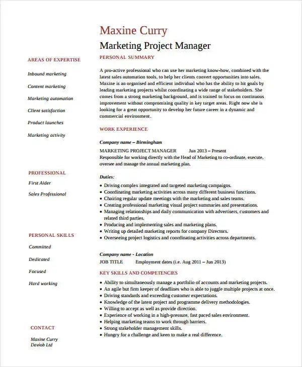 Marketing Resume Examples - 47+ Free Word, PDF Documents Download - marketing manager resume sample