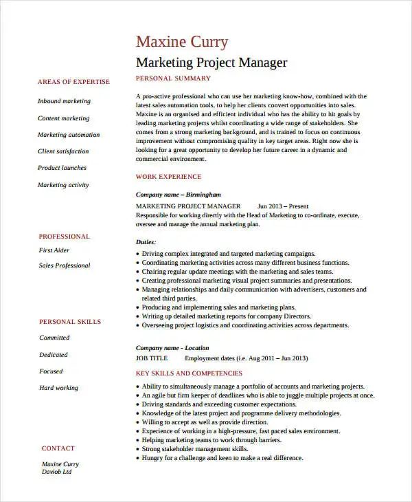 resume example event marketing