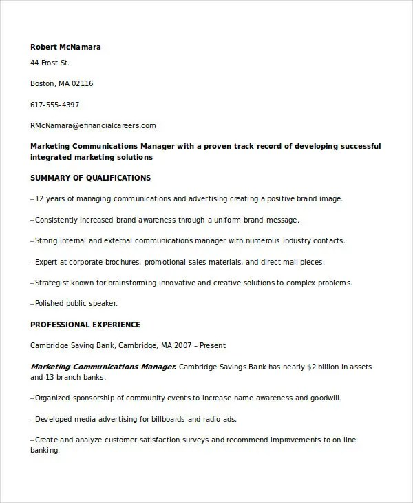 Marketing Resume Examples - 47+ Free Word, PDF Documents Download - Marketing Resume Examples