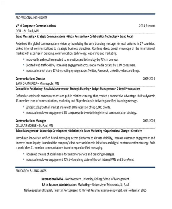 24+ Best Marketing Resume Templates - PDF, DOC Free  Premium