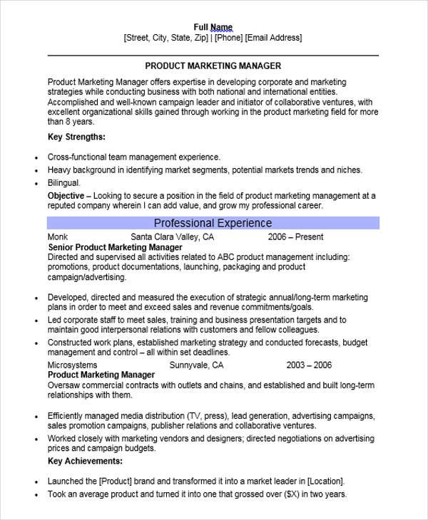 30+ Professional Marketing Resume Templates - PDF, DOC Free - product marketing resume