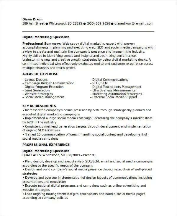 business communications resume example