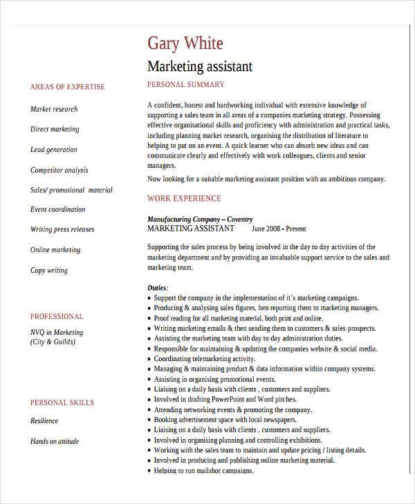 27+ Marketing Resume Templates in PDF Free  Premium Templates - marketing assistant resume