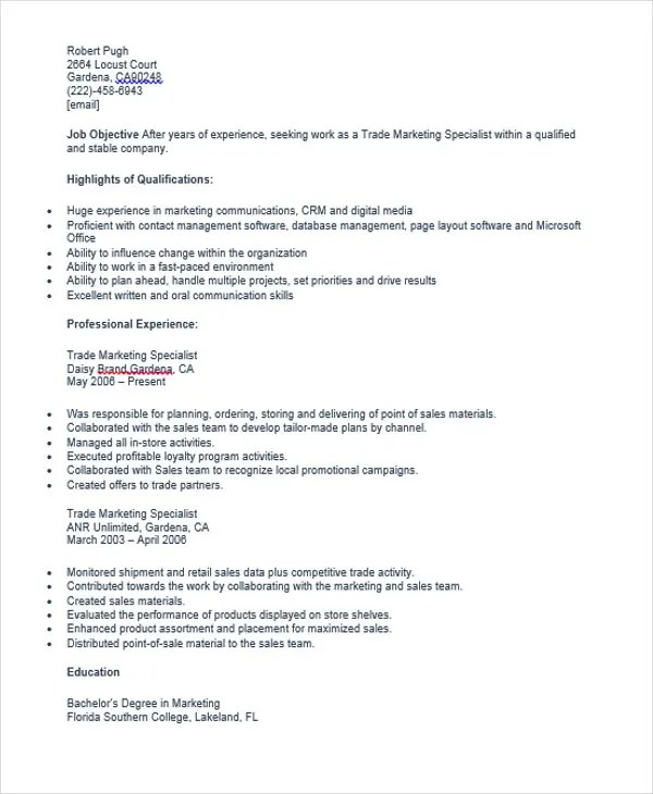 ... Marketing Resume Sample Stunning Marketing Resumes Samples With   Trade  Marketing Specialist Cover Letter ...