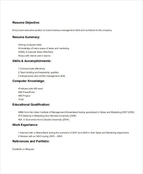 marketing student resumes