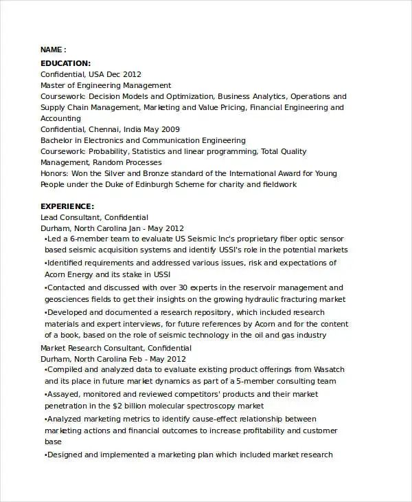 freelance marketing consultant resume sample