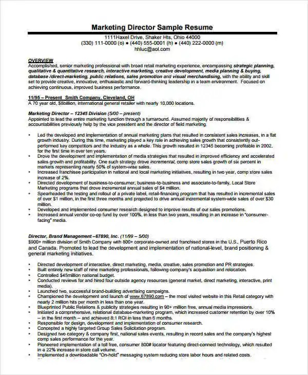 Marketing Resume Examples - 47+ Free Word, PDF Documents Download - marketing director resume examples