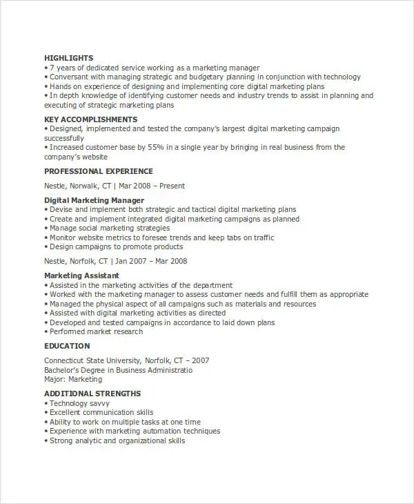 23+ Marketing Resume Templates Free  Premium Templates - online marketing assistant sample resume