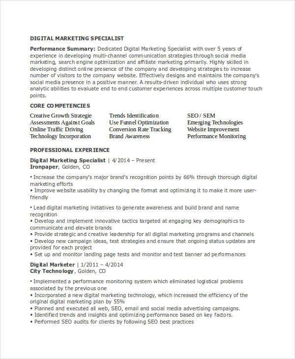 23+ Marketing Resume Templates Free  Premium Templates - digital marketing resume template