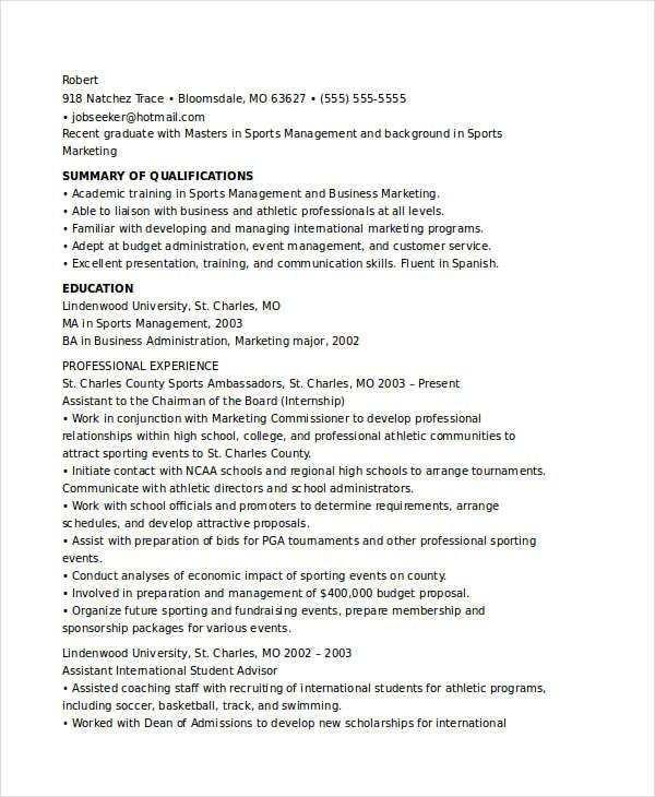 Marketing Resume Format Marketing Resume Samples 47 Free Word Pdf - sports resume template