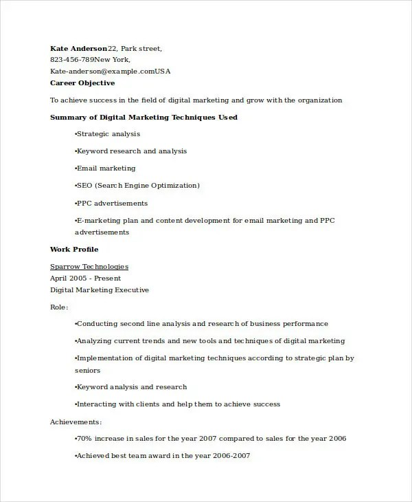 45+ Marketing Resume Templates - PDF, DOC Free  Premium Templates