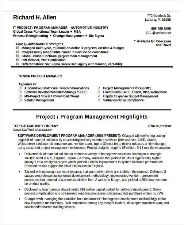 j2ee project manager resume