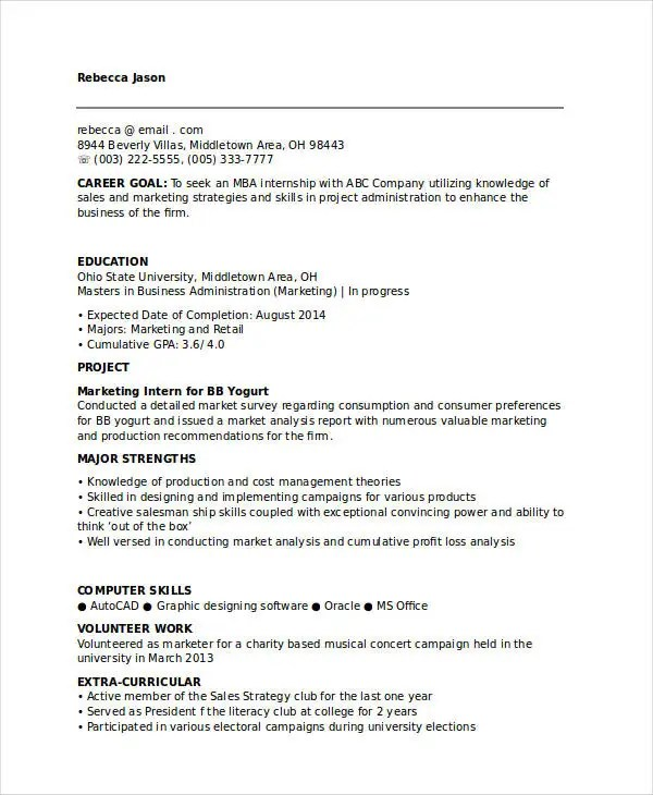 45+ Marketing Resume Templates - PDF, DOC Free  Premium Templates - marketing internship resume