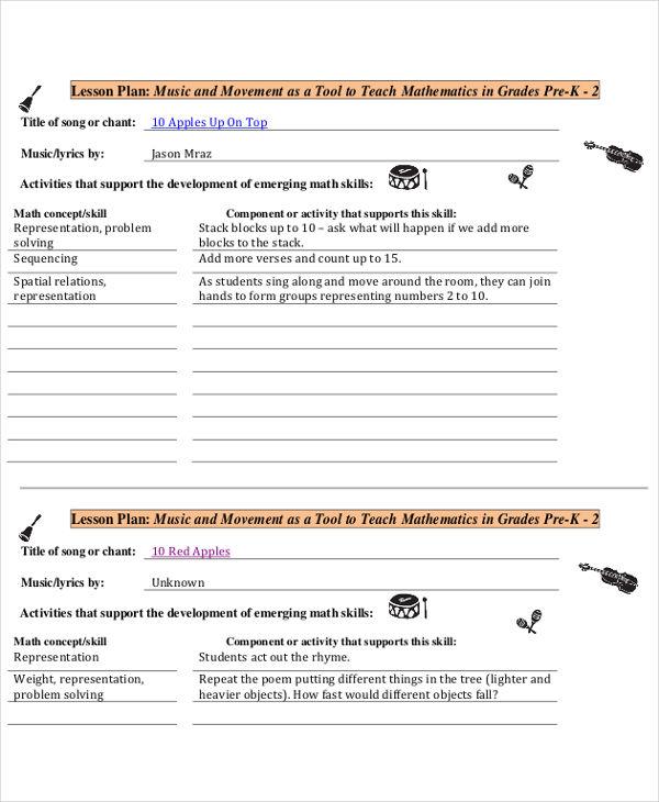music lesson plan template