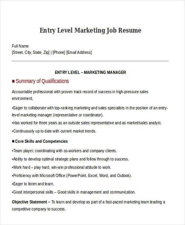 30+ Simple Marketing Resume Templates - PDF, DOC Free  Premium