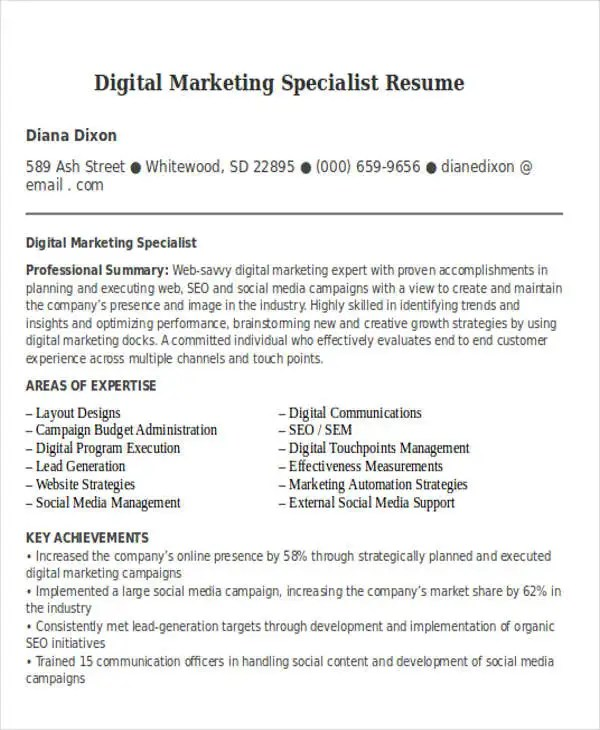 Internal communications specialist resume - marketing specialist resume