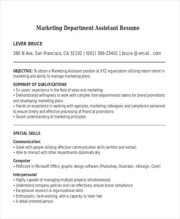 30+ Simple Marketing Resume Templates - PDF, DOC Free  Premium