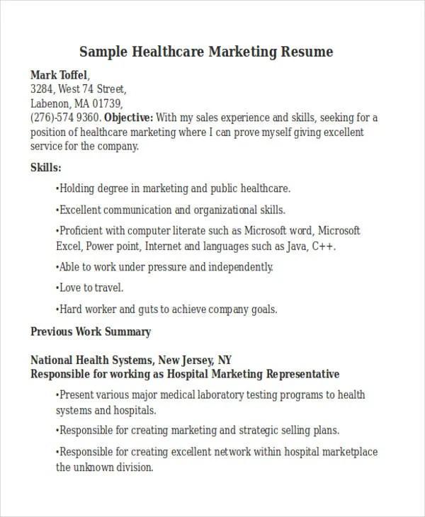 sample healthcare marketing resume - Ukran.soochi.co