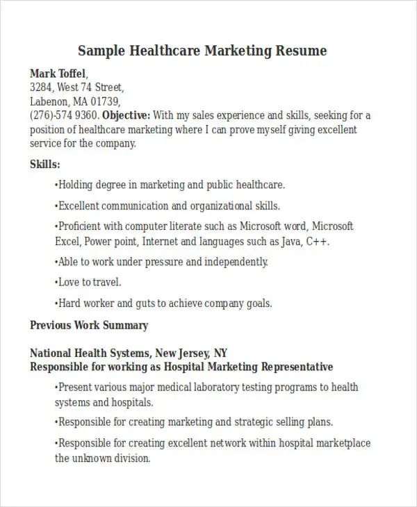 sample resume of director marketing