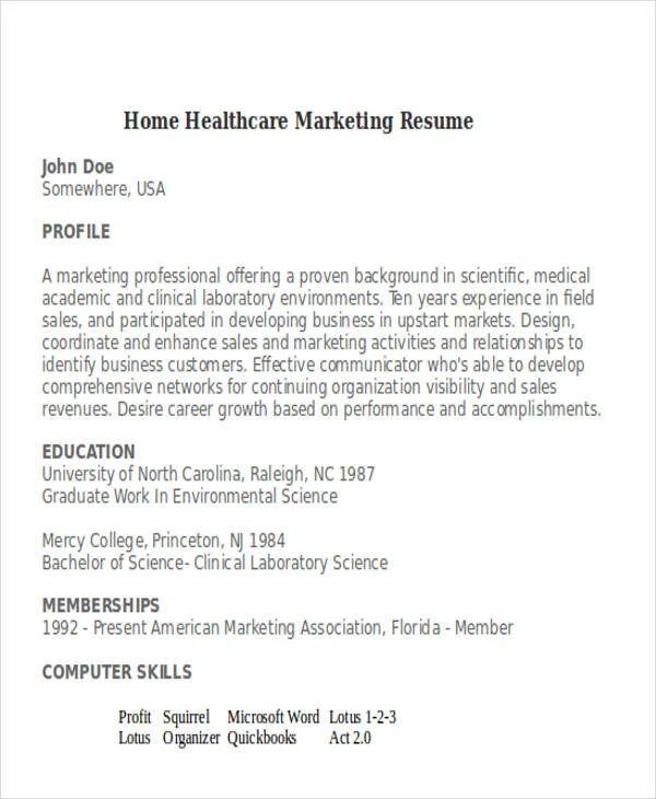 sample healthcare sales resume