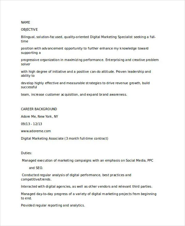free marketing resume templates 26 free word pdf documents digital strategist resume. Resume Example. Resume CV Cover Letter