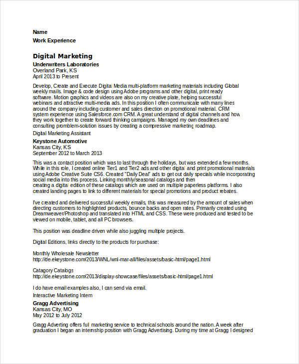 digital marketing resume template download